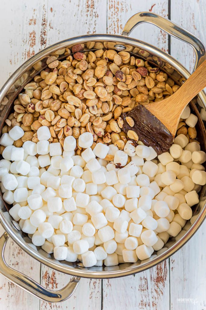 mixing ingredients in a big pot for rocky road treats