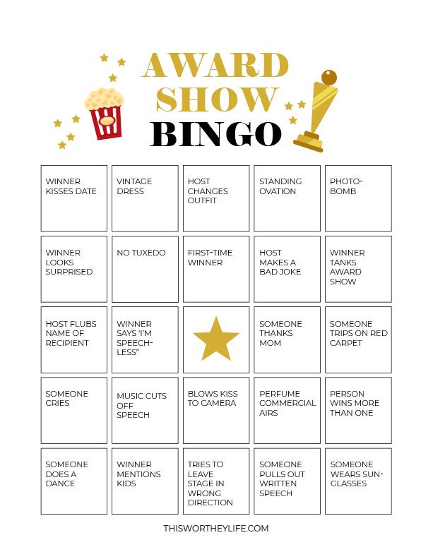 free award show bingo printable