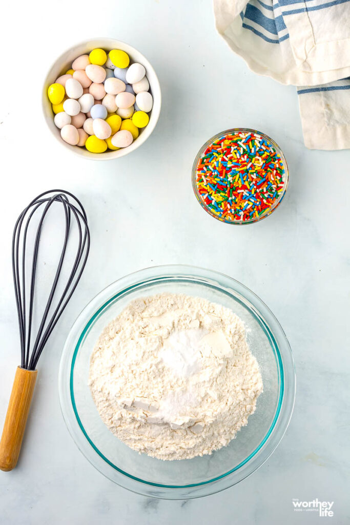 ingredients in bowls for easter egg cookies
