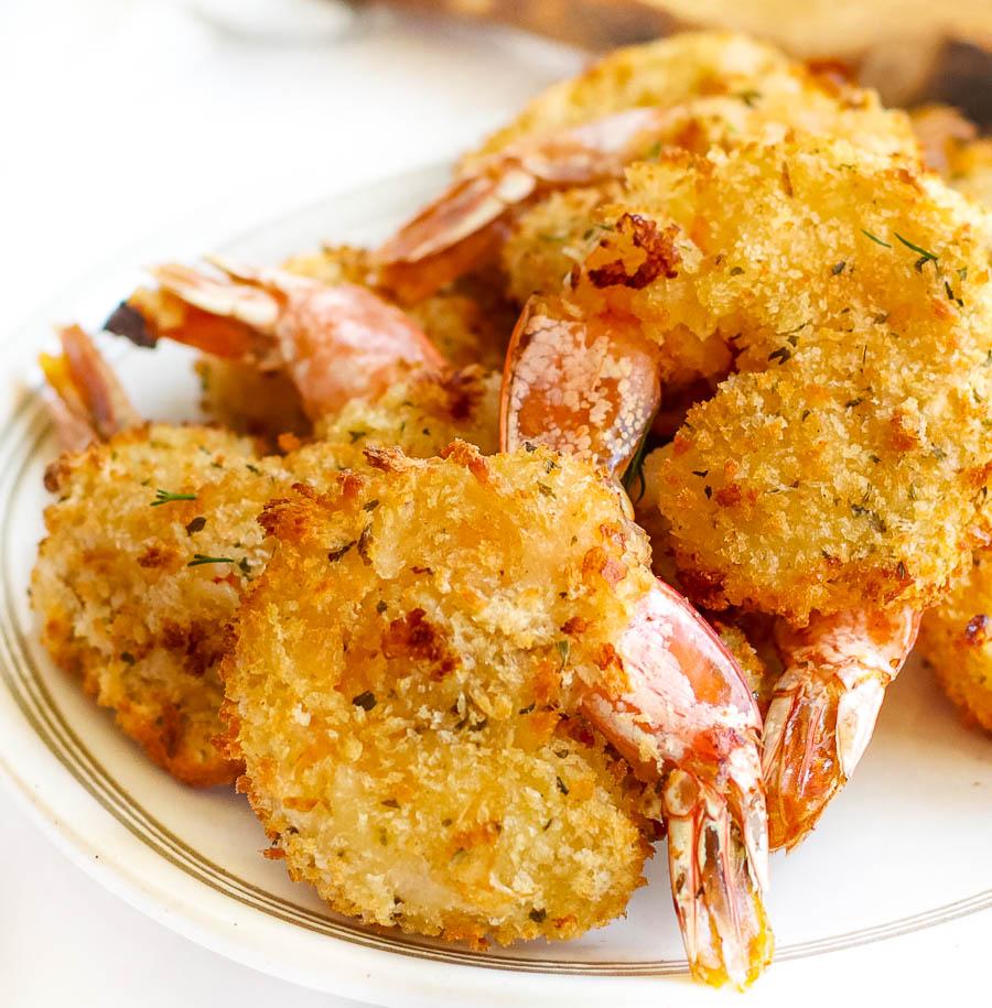 Air Fryer Fried Shrimp on white plate