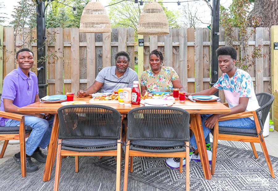 family enjoying dinner at the w