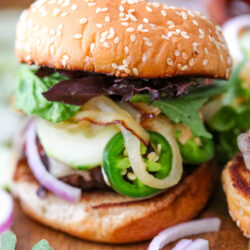 grilled burger with toppings