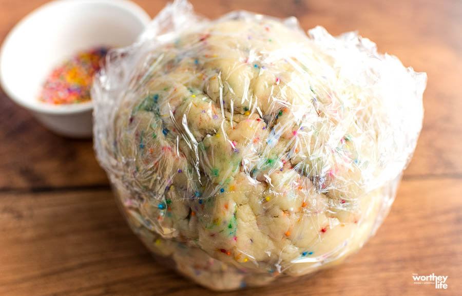 refrigerated cookie dough in a ball