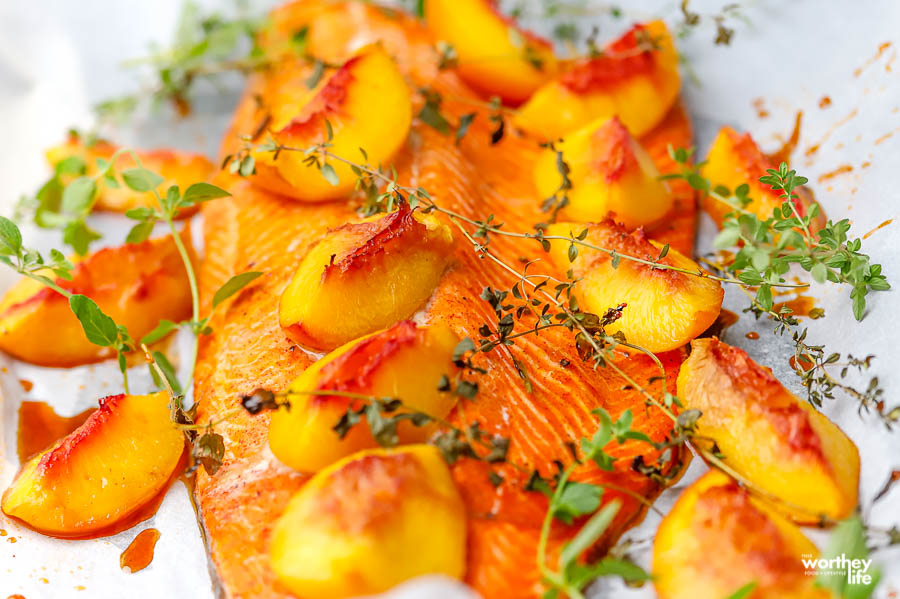 grilled salmon with peaches