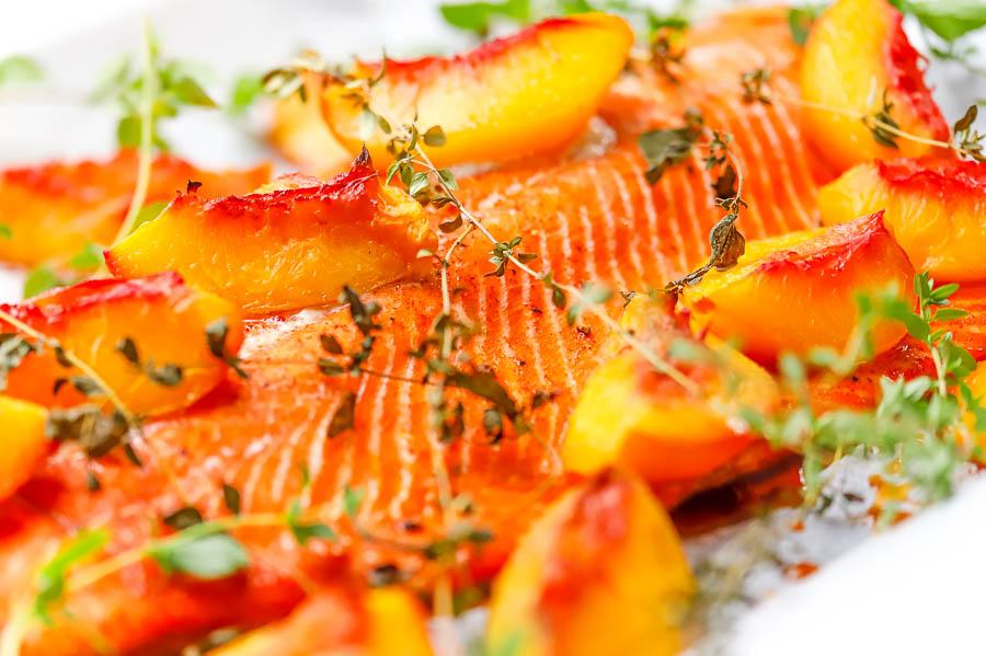 fresh cooked peaches on salmon