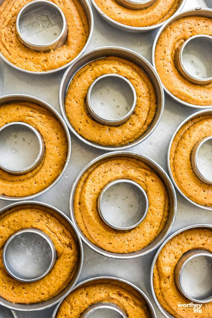 homemade pumpkin donuts in donut pan