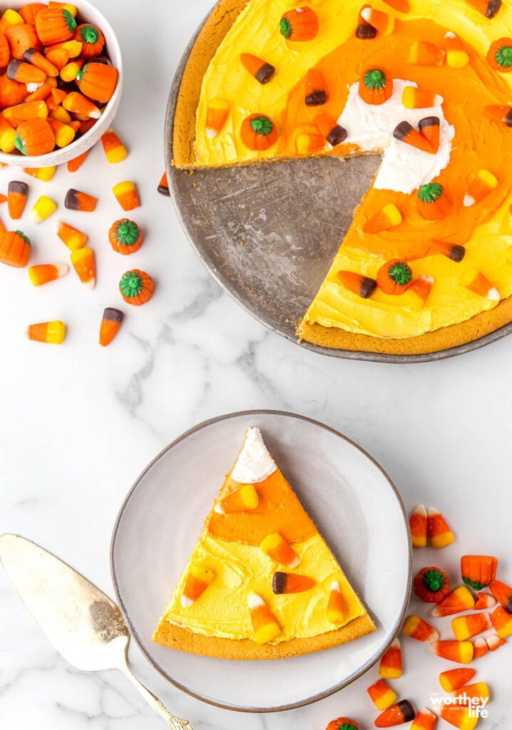 slices of candy corn pizza
