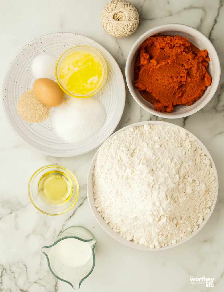 Ingredients You Will Need for Pumpkin Dinner Rollson white background
