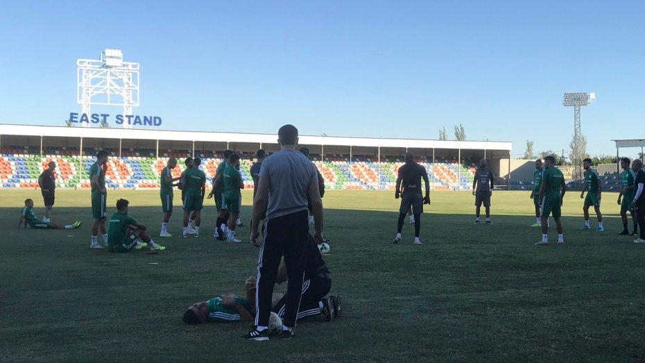 تحت حرارة مرتفعة الخضر يجرون أول حصة تدريبية ببوتسوانا