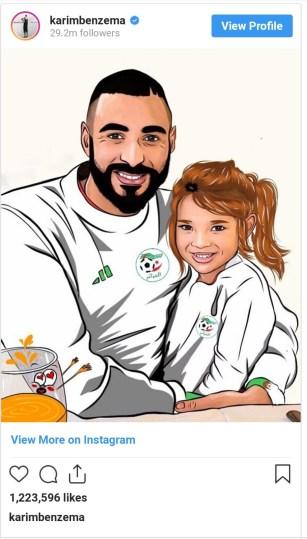 بن زيمة وابنته يساندون المنتخب الجزائري