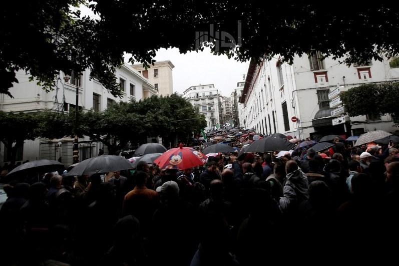 المتظاهرون احتموا من الأمطار بمضلاتهم خلال المظاهرات التي جابت شوارع العاصمة