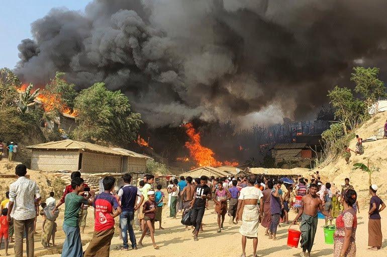"""حريق بـ""""مخيم الجزائر"""" يلتهم أزيد على ألفي خيمة.. وجمعية العلماء تستعد لحملة إغاثة"""