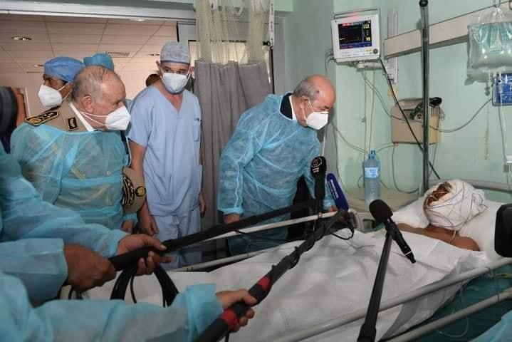 عبد المجيد تبون يزور جرحى الحرائق في مستشفيي الدويرة وعين النعجة بالعاصمة