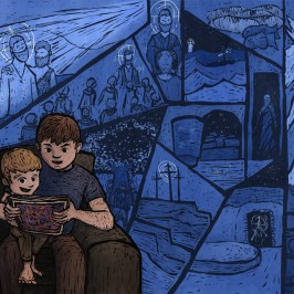 Digital Illustration of a father telling his child stories about Jesus Christ from the scriptures