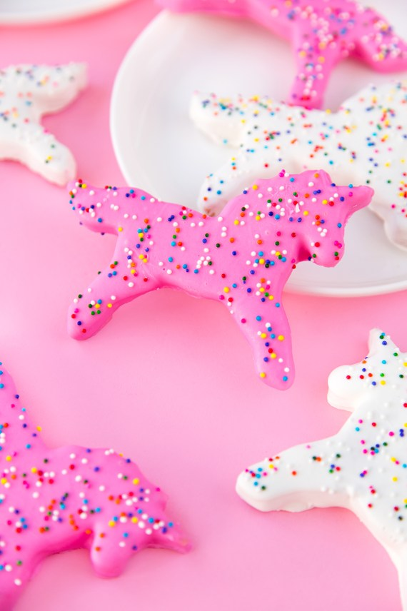 Unicorn party ideas, unicorn frosted animal cookies