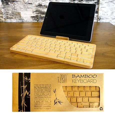iZen คีย์บอร์ดไม้ไผ่สำหรับแป้นพิมพ์ iPad และเดสก์ทอป