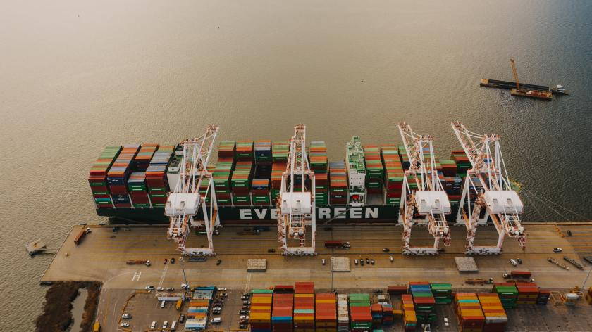 A cargo ships waits for unloading.