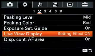 sony evf settings