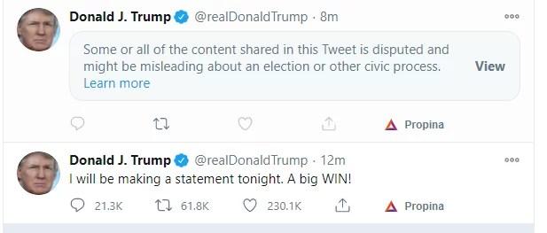 Twitter bloquea publicación de Donald Trump porque especulaba sobre un posible fraude electoral