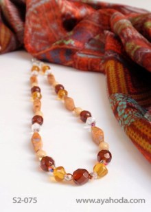 Image of Amber-Color Czech Glass Beaded Necklace and Shawl Set S2-075