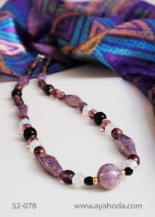 Image of Light Purple Czech Glass Bead Necklace & Shawl Set S2-078