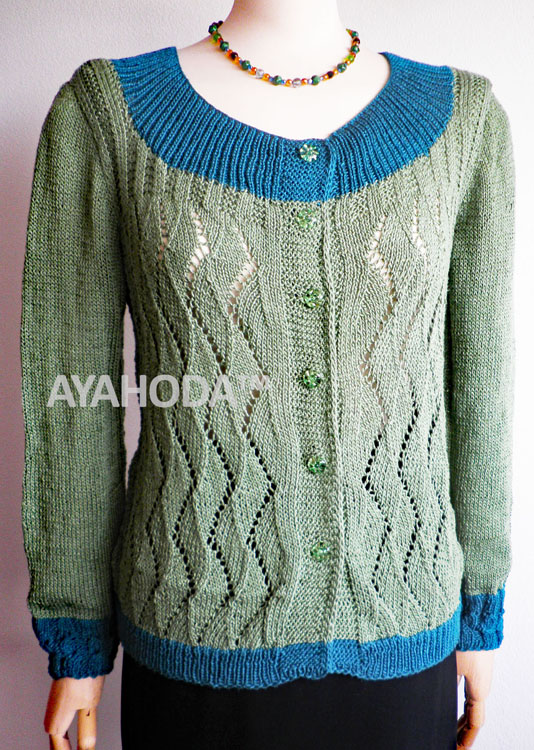 Ayahoda Handmade Khaki and Petroleum Green Women Cardigan - B0109.