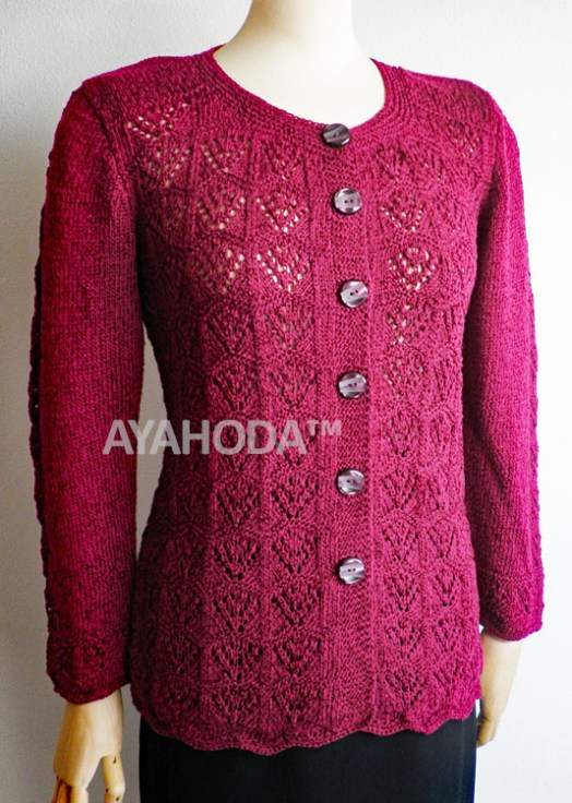 Ayahoda Burgundy Red Wine Women Lacy Cardigan - B0110.