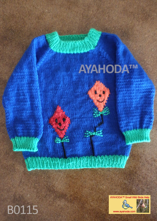 Kids sweater with kites Ayahoda design handmade