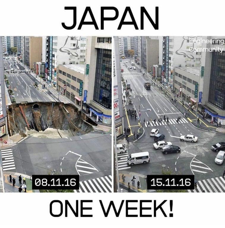 【海外】「世界は日本を見習おう」道路陥没事故の復旧作業をたった1週間で終えた日本に海外衝撃!