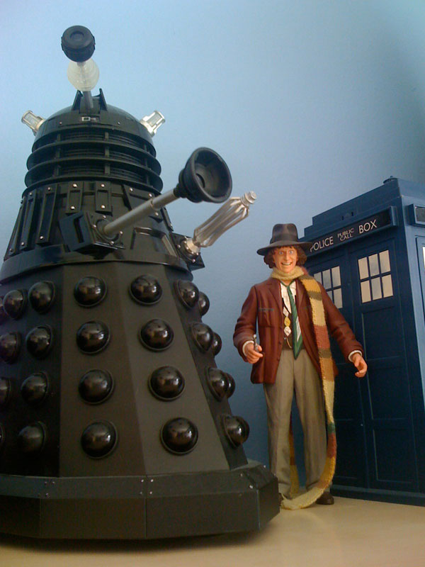 4th Doctor Tom Baker and black Dalek Sec