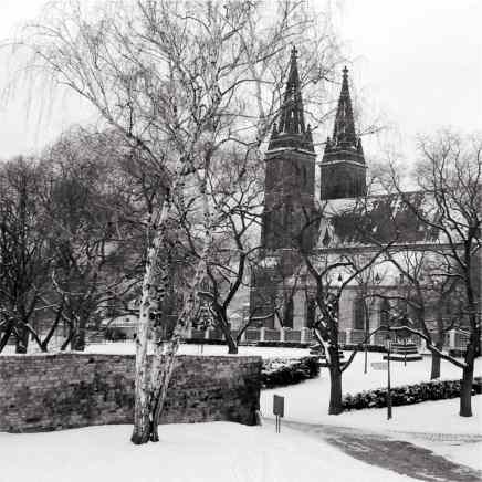 Winter shot of the park at Vysehrad