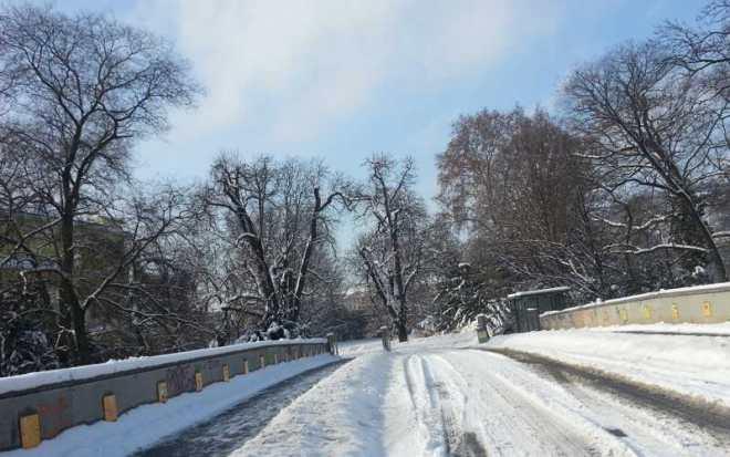 Bridge to Zofin Island from Masarykovo riverbank
