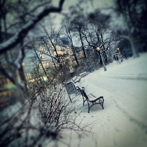 Snow walk on Karlovo square in Prague