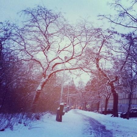 Top sidewalk along Karlovo square in snow