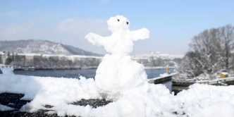 Snowman on Jiraskuv Bridge