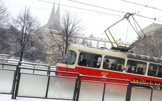 Tram on Palackeho square