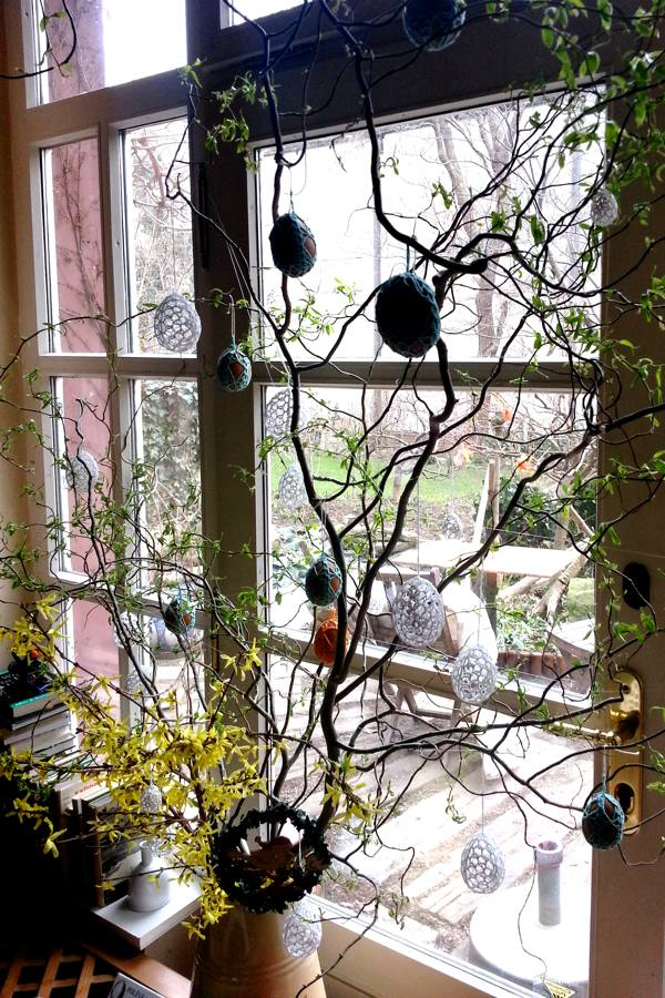 Looking through the French window into the garden