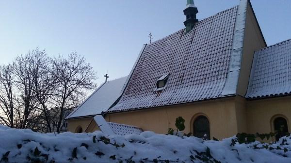 Pod Vysehradem street in snow