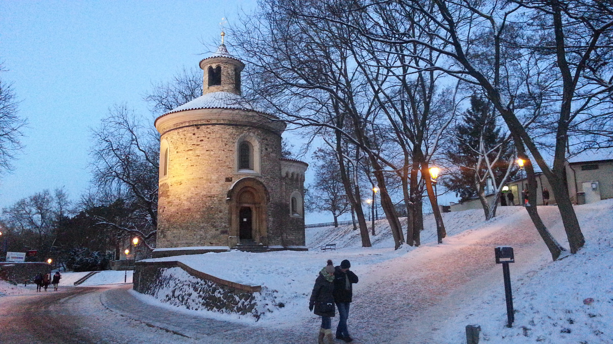 Twilight and sunset at snowy Vysehrad