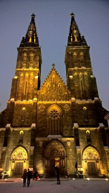 BasilicaofStPeterandStPaul_Vysehrad_Prague_NightviewInWinter
