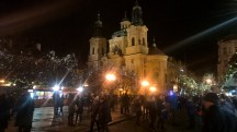 Prague-atnight-OldTownSquare-lights-church