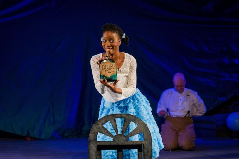 Alice's Adventures in Wonderland - Polka Theatre - 21 November 2013 By Simon Read (based on Lewis Carroll) Songs and music by Martin Ward Cast includes Nia Davies, Ebony Feare, Robert Saunders, Gehane Strehler, Dale Superville, and Sam Worboys.
