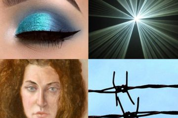 A collage of four pictures showing a barbed wire fence, a portait of a person, a bright light and an eyelid painted blue.