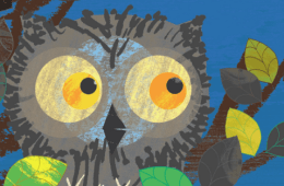 An animated owl among tree branches.