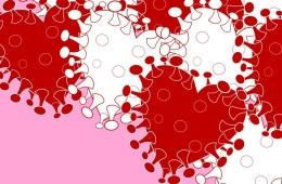 Red and white heart shapes against a pink background. The heart have protruding spikes similar to that of the coronavirus.