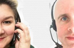 Close-up of two people wearing calling headsets.