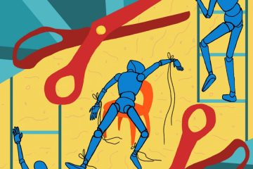 An animated image of three figures against a blue and yellow backdrop. Two large, red scissors frame the figures.
