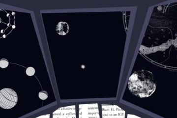 An animated view from the window of a spaceships, looking out into space filled with planets and stars.
