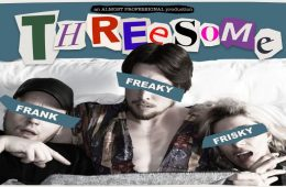 The people in a bed, each have their eye line hidden by a line of text: Frank, Freaky and Frisky, respectively.