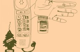 A drawing of a landline phone, a hand, a bottle of pills and a car air freshener.